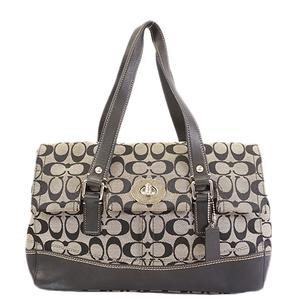 Auth Coach Signature Handbag  F13070 Women's Canvas Handbag Black
