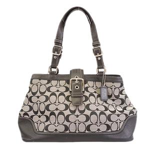 Auth Coach Signature Tote Bag F12642 Women's Canvas Tote Bag Black