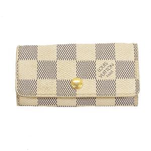 Auth Louis Vuitton Damier Azur Multicles4 N60020 Men,Women,Unisex Damier Azur Key Case Azur,Damier Canvas