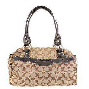 Auth Coach Signature Handbag  F14695 Women's Canvas Handbag Beige