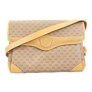 Auth Gucci Old Gucci 001.116.0844 Women's PVC Shoulder Bag Beige