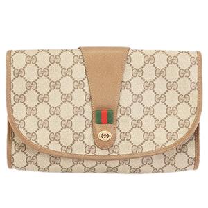 Auth Gucci Sherry Line Second Bag 89 01 030 Men,Women,Unisex GG Supreme Clutch Bag Beige