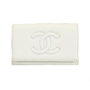 Auth Chanel Keycase Men,Women,Unisex Caviar Leather Key Case White