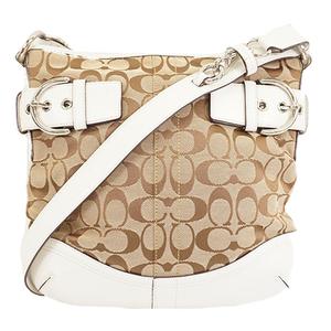 Auth Coach Signature Shoulder Bag 3574 Women's Canvas Shoulder Bag Beige
