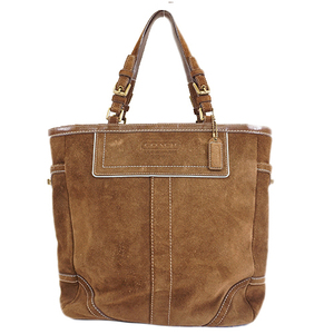 Auth Coach Tote Bag 8B04 Women's Suede Tote Bag Brown