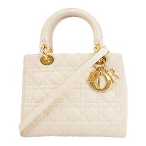 Auth  Christian Dior Cannage/Lady Dior Handbag Women's Leather Handbag Ivory