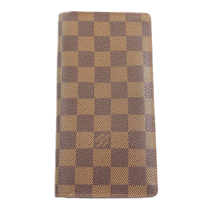 Auth Louis Vuitton Damier N60017 Leather,Damier Canvas Long Wallet (bi-fold) Ebe
