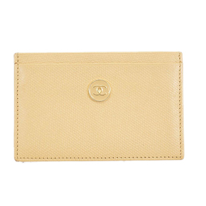 Auth Chanel Pass Holder Leather Travel Pass Case Beige
