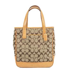 Auth Coach Signature  Handbag 6092 Women's Canvas Handbag Beige