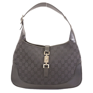 Auth Gucci Jackie Shoulder Bag 001 3306 Women's GG Canvas Shoulder Bag Black