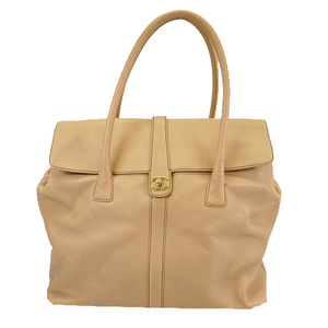 Auth Chanel Tote Bag Women's Leather Tote Bag Beige