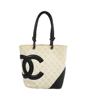 Auth Chanel Ligne Cambon Handbag Women's Leather Handbag Black,White