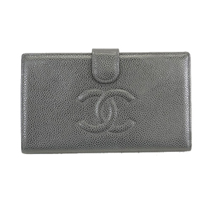 Auth Chanel Bifold Long Wallet Women's Caviar Leather Long Wallet (bi-fold)