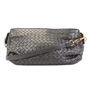 Auth Bottega Veneta Intrecciato Handbag Women's Leather Handbag Black