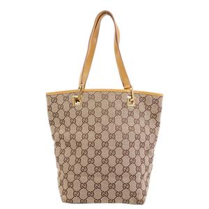 Auth Gucci GG Canvas Tote Bag  002 1099 Women's GG Canvas Tote Bag Beige