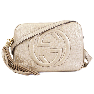 Auth Gucci Soho 9248 Women's Leather Shoulder Bag Champagne Gold