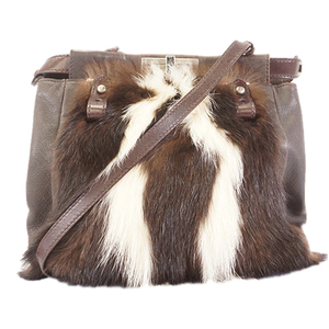 Auth Fendi Shoulder Bag Women's Fur Shoulder Bag Brown