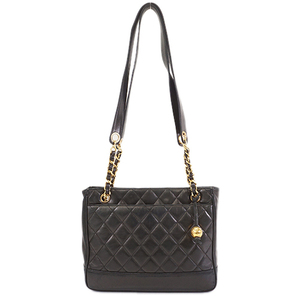 Auth Chanel Matelasse Tote Bag Women's Leather Tote Bag Black