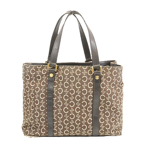 Auth Celine  C Macadam Women's Canvas Tote Bag Brown