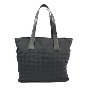 Auth Chanel New Travel Line Women's Nylon Canvas Tote Bag Black