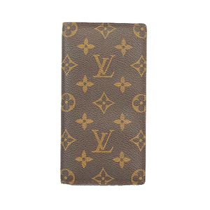 Auth Louis Vuitton Monogram Check Case Monogram Checkbook Holder Brown,Monogram
