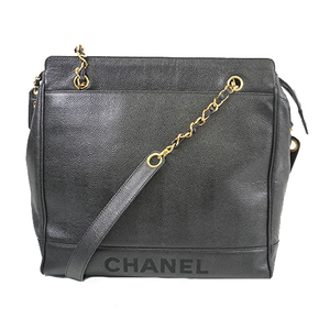 Auth Chanel Tote Bag Women's Caviar Leather Tote Bag Black