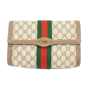Auth Gucci Sherry Line Clutch Bag GG Supreme 014 122 6063 Men,Women,Unisex