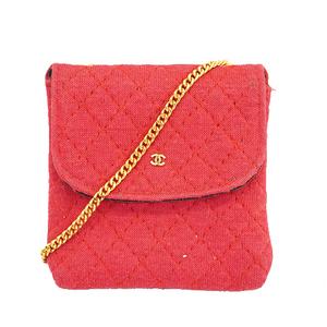 Auth Chanel Matelasse  Pouch Women's Cotton Pouch Pink