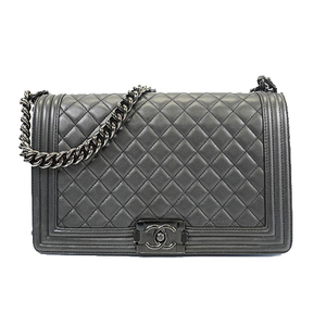 Auth Chanel Boy Chanel Shoulder Bag Women's Leather Shoulder Bag Black