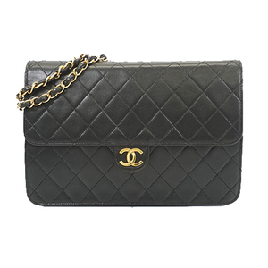 Auth Chanel Matelasse  Shoulder Bag Women's Leather Shoulder Bag Black