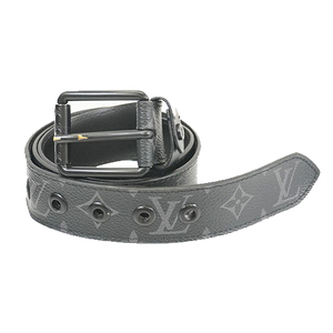 Auth Louis Vuitton Monogram Eclipse Saint Tulle Voyager M0043 Men's Belt Black