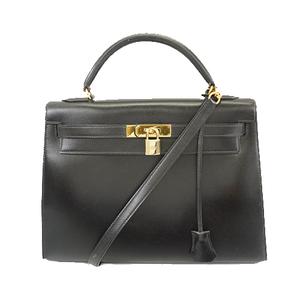 Auth Hermes Kelly 32 〇 P Tick Women's Box Calf Leather Handbag Black