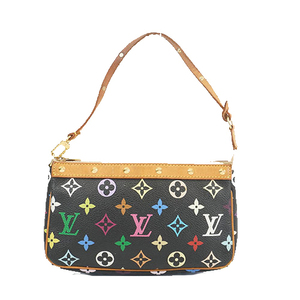 Auth Louis Vuitton Monogram Multicolore Pochette Accessoir M92648 Women's Pouch Noir