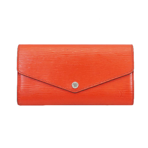 Auth Louis Vuitton Epi Portefeuille Sarah M60723 Women's Epi Leather Long Wallet (tri-fold) Castilian Red