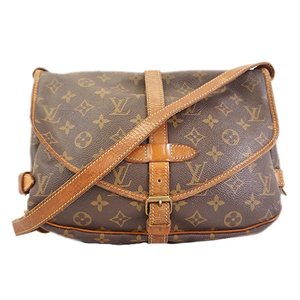 Auth Louis Vuitton Monogram Saumur30 M42256 Women's Shoulder Bag Brown