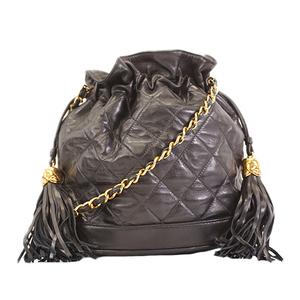 Auth Chanel  Drawstring chain shoulder bag with fringe Women's Leather Shoulder Bag Black