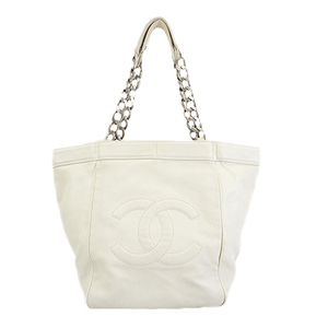 Auth Chanel  Tote Bag Women's Caviar Leather Tote Bag White