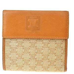 Celine Macadam Pattern Leather,PVC Wallet (tri-fold) Brown
