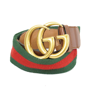 Auth Gucci GG Marmont Shelly Line 409416 Men,Women,Unisex Cotton Belt
