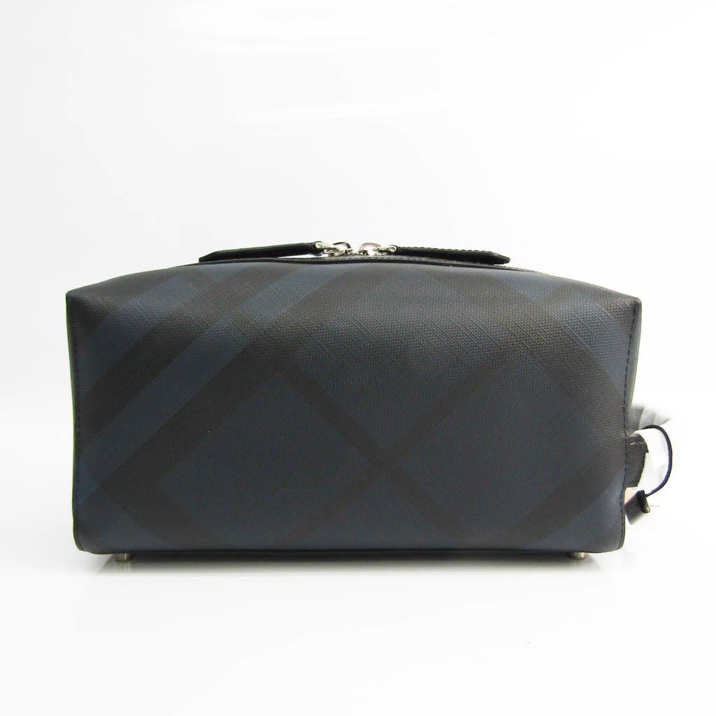 バーバリー(Burberry) 4068331 メンズ レザー,PVC クラッチバッグ ブラック,ネイビー