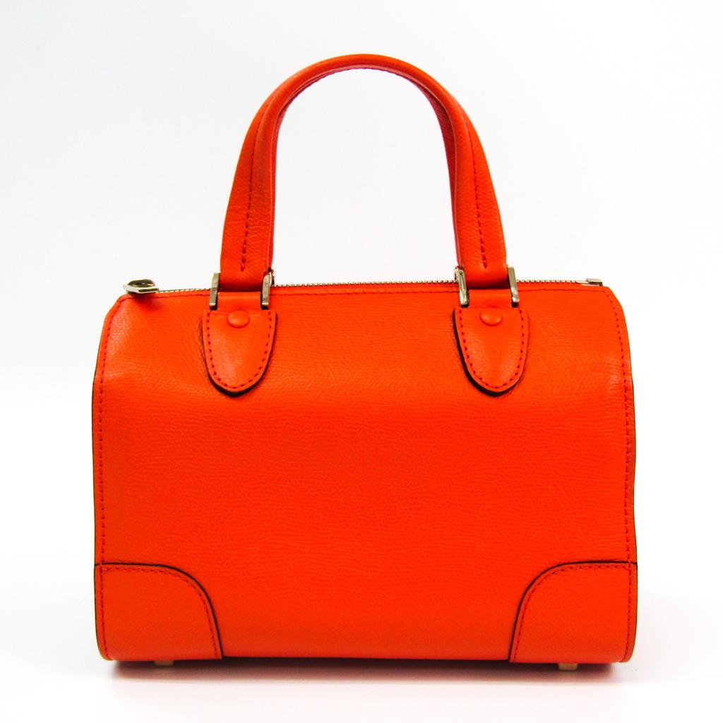 Valextra Mini Boston V5C14 Women's Leather Handbag Orange