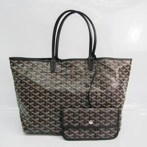Goyard Saint Louis PM Women's Leather,Coated Canvas Tote Bag Black