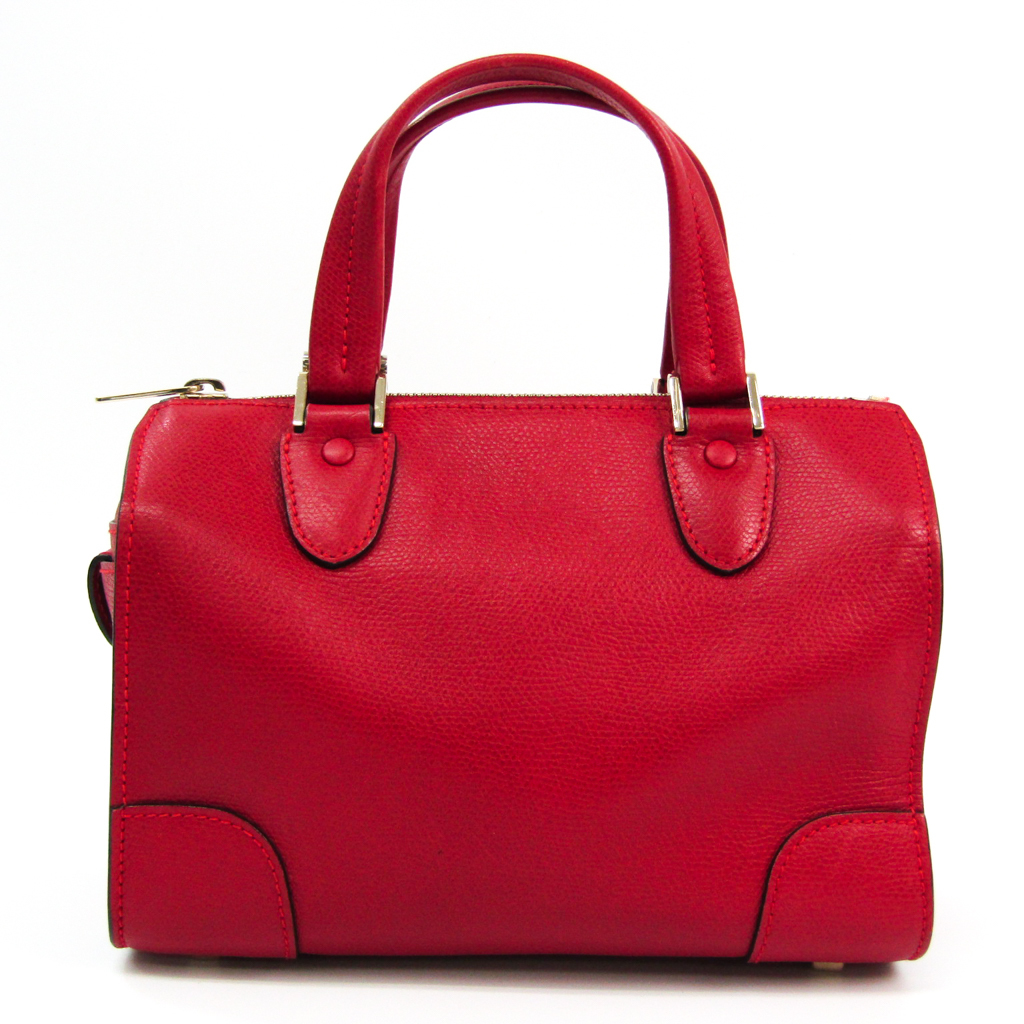 Valextra Mini Boston V5C14 Women's Leather Handbag Red