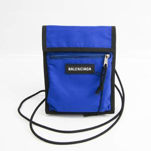 バレンシアガ(Balenciaga) EXPLORER POUCH 532298 ユニセックス レザー,キャンバス ショルダーバッグ ブラック,ロイヤルブルー