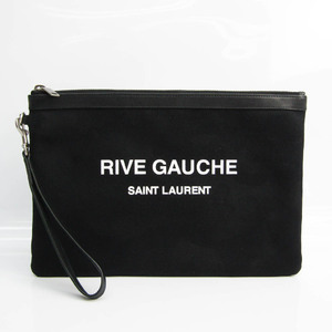 Saint Laurent RIVE GAUCHE 581369 Men's Leather,Canvas Clutch Bag Black