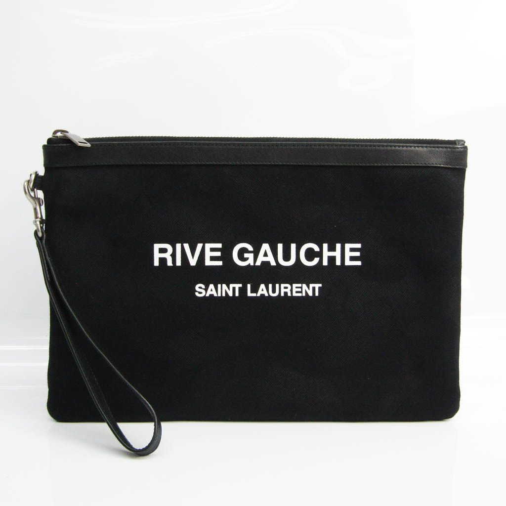サン・ローラン(Saint Laurent) RIVE GAUCHE 581369 メンズ レザー,キャンバス クラッチバッグ ブラック