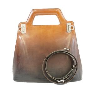 サルヴァトーレフェラガモ 2wayバッグ ガンチーニ レザー ブラウン シルバー金具