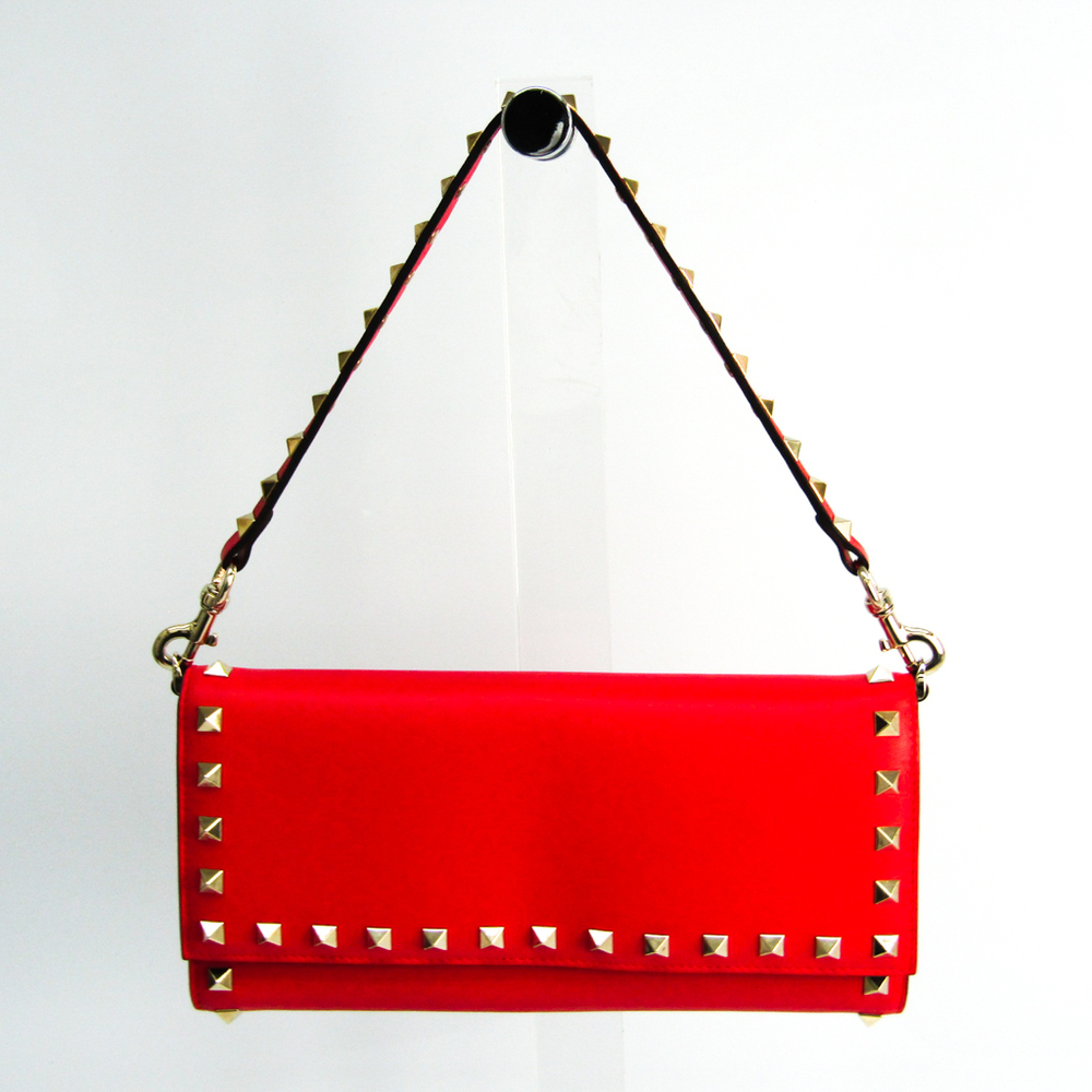 Valentino ROCKSTUD TRAVEL WALLET IW2P0379BOL Women's Leather Long Wallet (bi-fold) Red Color