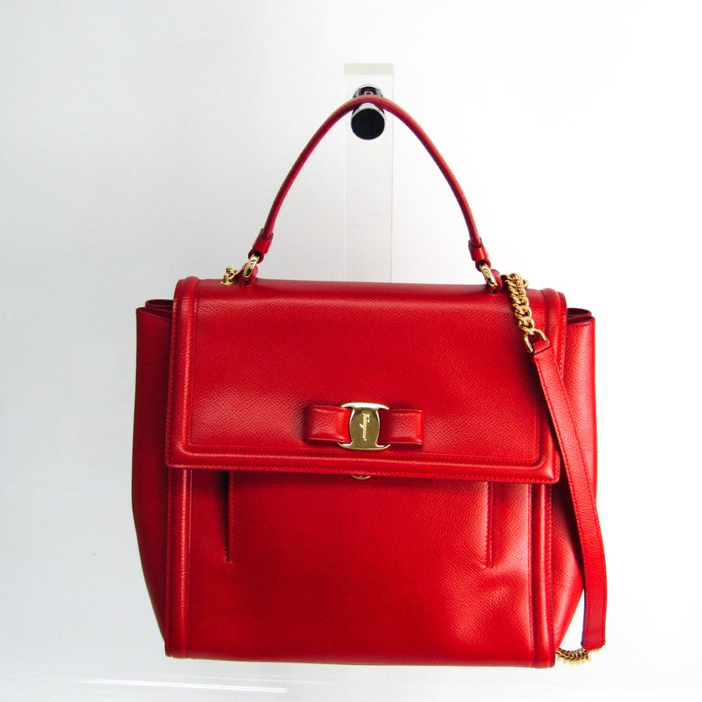 Salvatore Ferragamo Vara EZ-21 G697 Women's Leather Handbag,Shoulder Bag Red Color