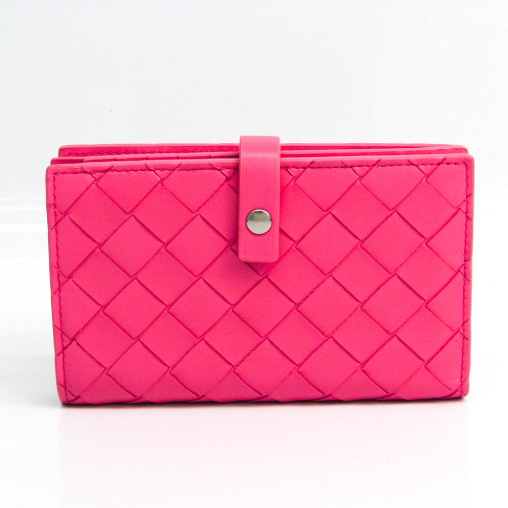 Bottega Veneta Intrecciato Women's Leather Middle Wallet (bi-fold) Pink
